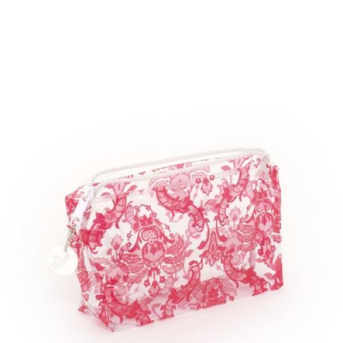 trellis vinyl cosmetic bag in red