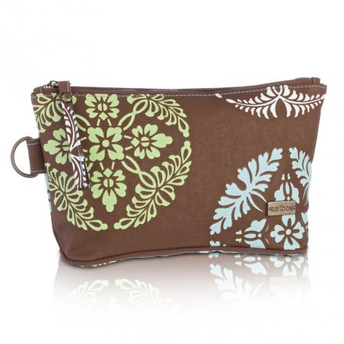 medallion cosmetic bag in chocomint