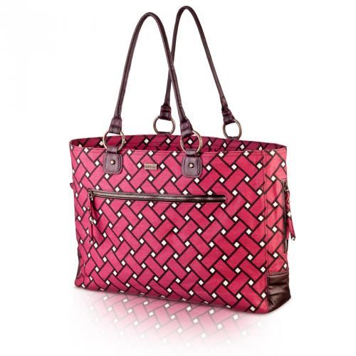 basketweave day bag in berry