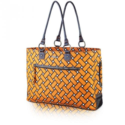 basketweave day bag in squash