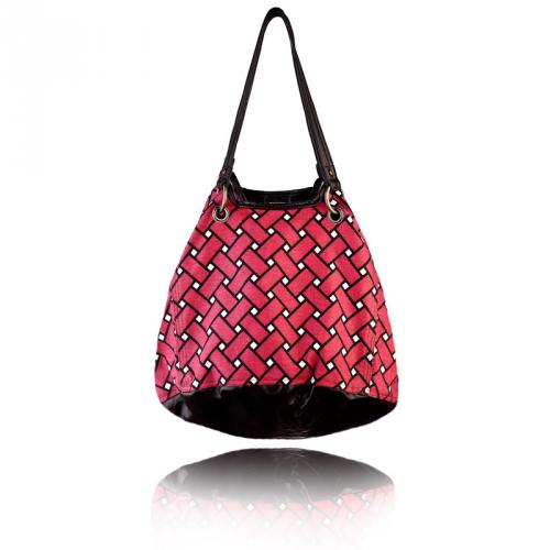 basketweave getaway bag in berry