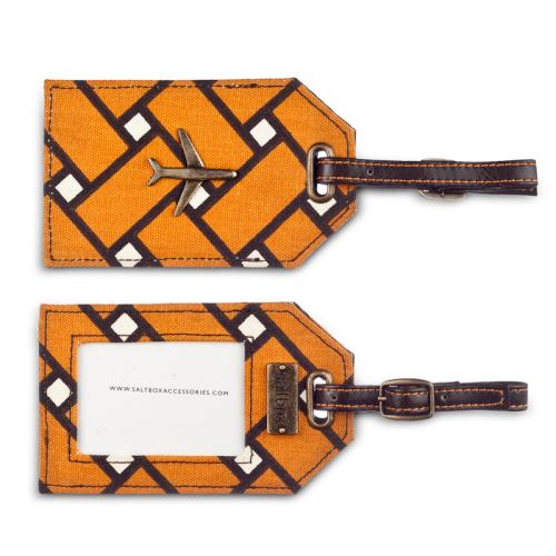 basketweave luggage tag in squash
