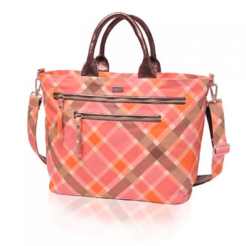 plaid carryall in magnolia
