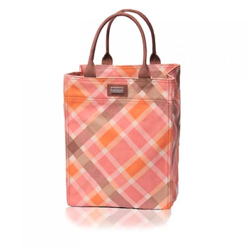 plaid take-out tote in magnolia