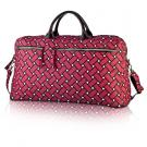 basketweave travel bag in berry