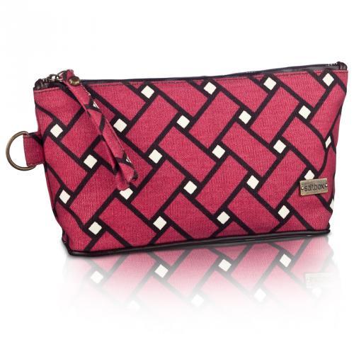 basketweave cosmetic bag in berry