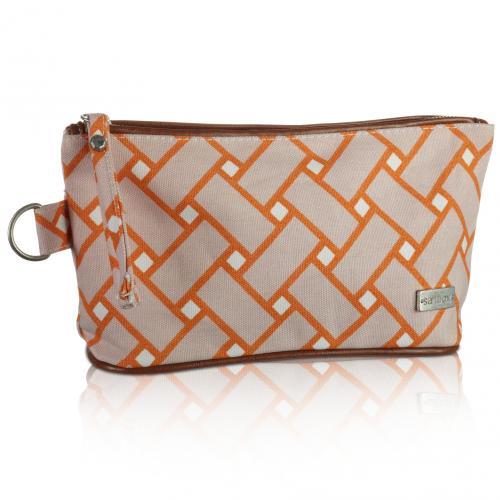 basketweave cosmetic bag in sherbet